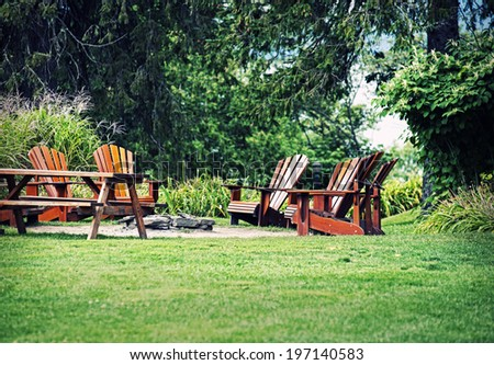 Bunch Chairs Picnic Table Around Fire Stock Photo - Fire picnic table