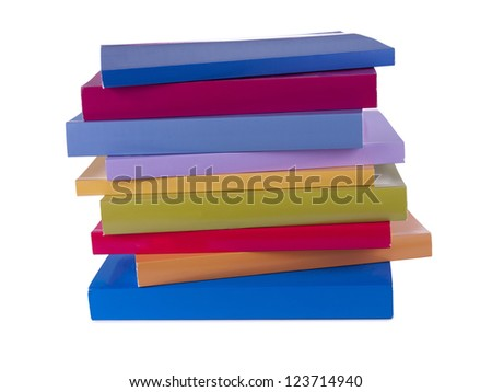 A bunch of colorful books isolated on
