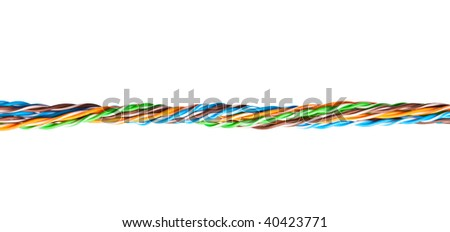 A bunch of colorful cables. Isolated on white background
