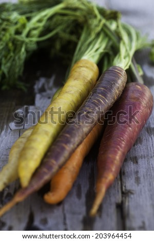 A bunch of colorful carrots on a wooden surface.
