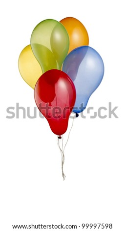 a bunch of colorful helium balloons isolated on white with clipping path 3 - stock photo