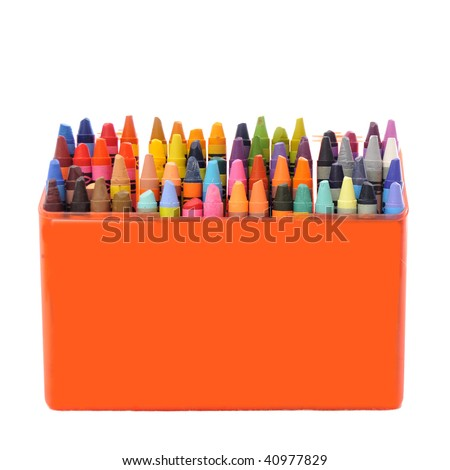 A bunch of crayons in a box - stock photo