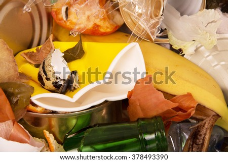 A bunch of different waste close-up texture - stock photo