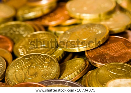 A bunch of euro coins