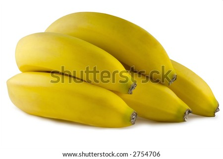 A bunch of fresh ripe bananas on a white background