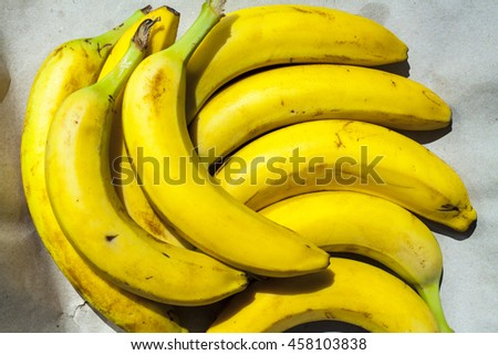 A bunch of green bananas ripe soft ripened in Rio in the summer of 2016