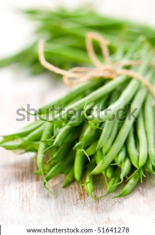 a bunch of green beans - stock photo