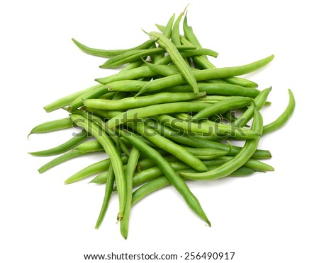 a bunch of green beans on white background