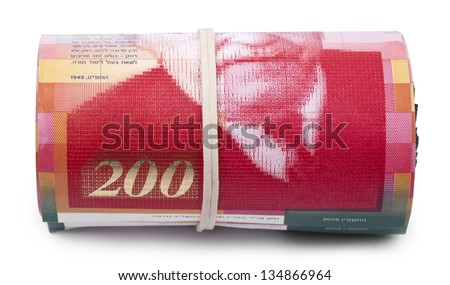 A bunch of 200 Israeli New Shekels (NIS) money notes rolled up and held together with a simple rubber band. Isolated on white background. - stock photo
