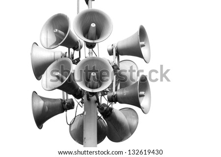 A bunch of loudspeakers - stock photo