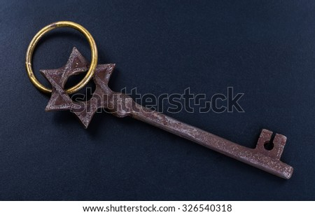 a bunch of old keys isolated on a dark background