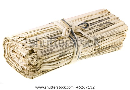 a bunch of old newspapers  isolated on the white background - stock photo