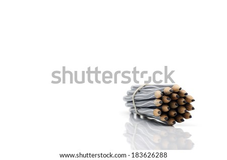 A bunch of pencils isolated on white background - stock photo