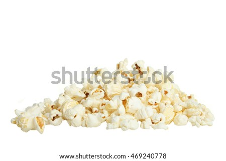 A bunch of popcorn on a white isolated background