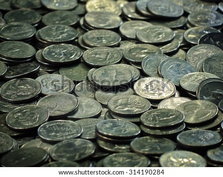 A bunch of quarters - stock photo