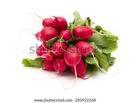 a bunch of radish isolated on white - stock photo