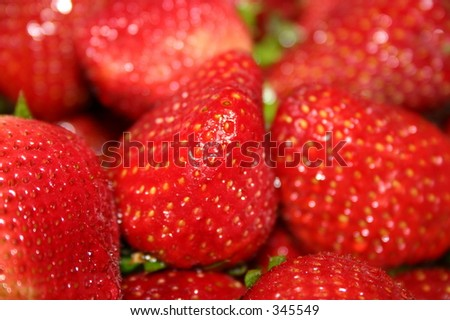 A bunch of red ripe strawberries.