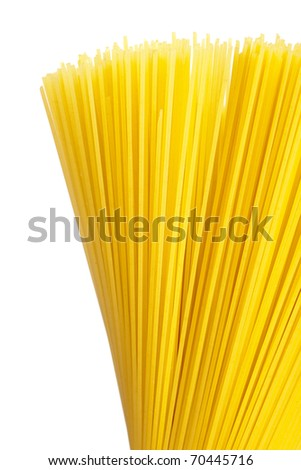 A bunch of spaghetti, uncooked spaghetti noodles isolated on a white background.