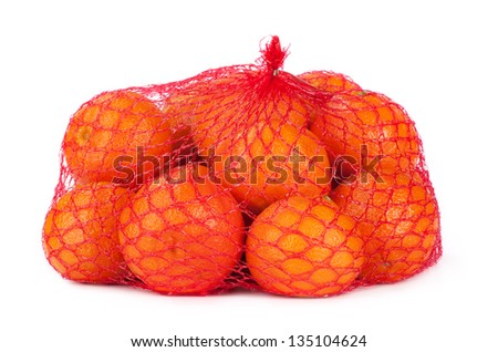 A bunch of tangerines wrapped in a red grid on white background.
