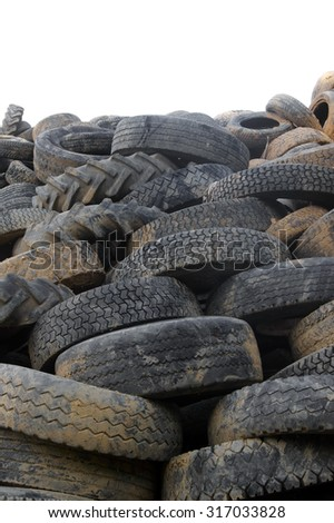 A bunch of  tyres- isolated on white - stock photo