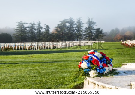 A bundle of flowers in the Douaumont Ossuary, near Verdun, France - stock photo