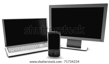A bundle of net tv and cell phone isolated on white - stock photo