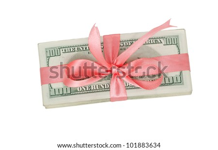 a bundle of US dollars with pink ribbon bow - stock photo