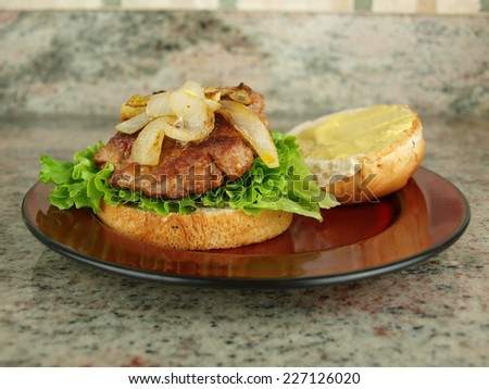 a burger sandwich with lettuce, onion, and mustard on a plate ready to be eaten - stock photo