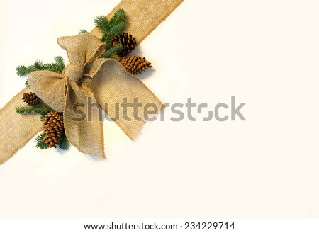 A burlap fabric ribbon is isolated, surrounded by pine cones and evergreen Christmas tree branches, wrapped diagonally across the corner of a white background. - stock photo
