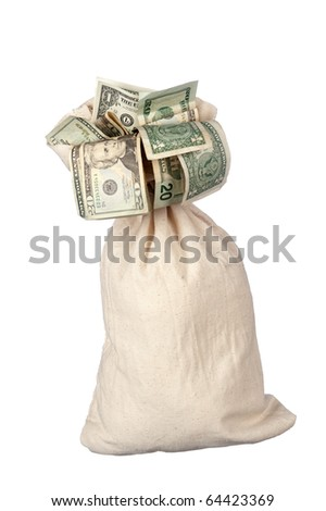 A burlap sack of cash on a white background.