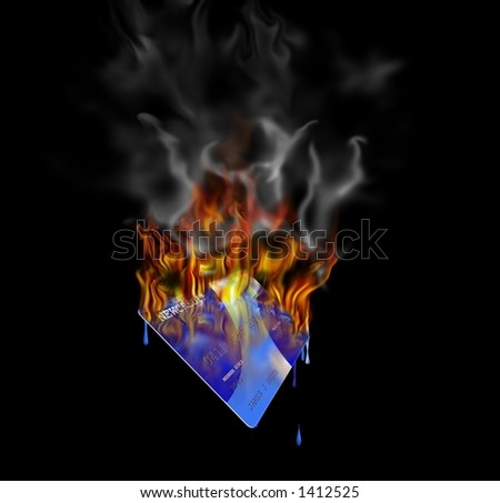 A burning credit card Created entirely in photoshop - stock photo