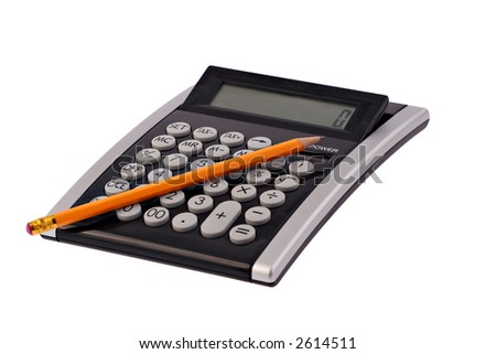 A business calculator with a pencil on it photographed on a white background - stock photo