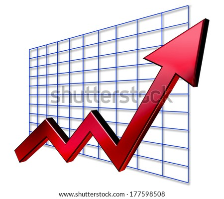 A business graph and chart with a striking red arrow design - stock photo