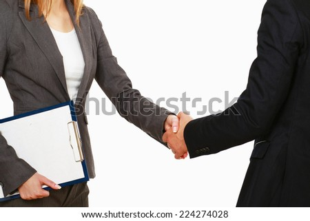 A business handshake, isolated on white background.