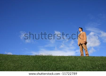 A business man alone on a beautiful landscape - stock photo