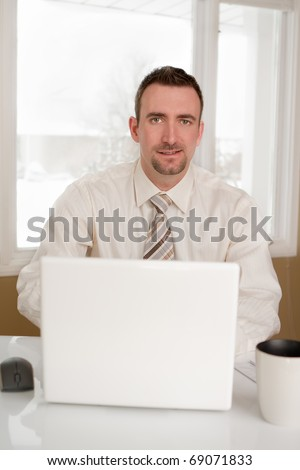 A business man at home office using laptop