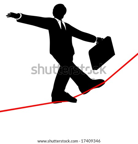 A business man balances with a briefcase, walks a high wire tightrope, above risk and danger, view from below.