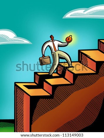A business man climbing a flight of stairs