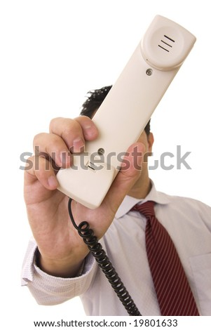 A business man giving a telephone to someone