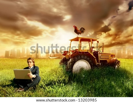 a business man in a countryside - stock photo