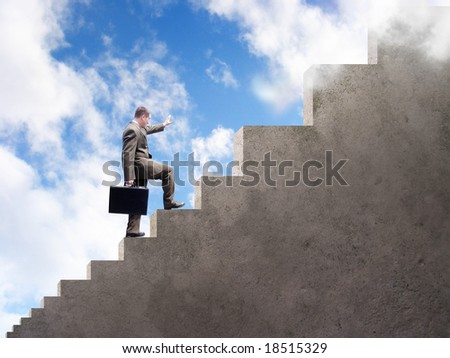 A business man is climbing up stairs that get larger and larger. A cloudy sky is in the background.