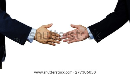 A business man shake each other hand, isolated on white - stock photo