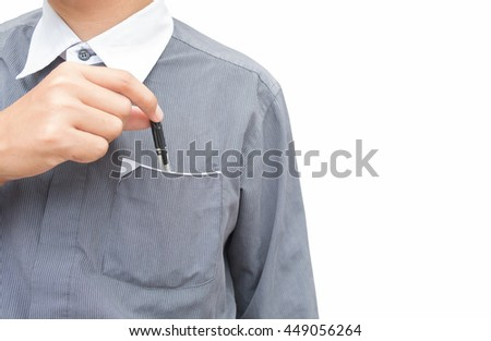a business man show front and back of right hand pick/holding the black pen from pocket of dark gray shirt. isolated on white background. - stock photo