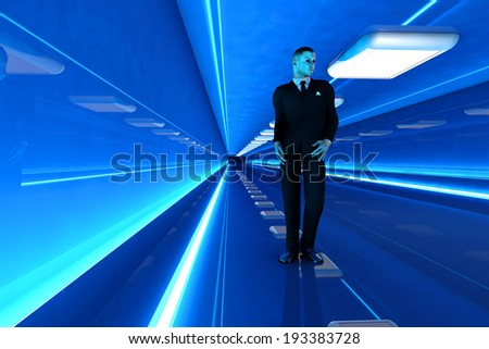 A business man walking down a airport corridor. 3D rendered Illustration. - stock photo