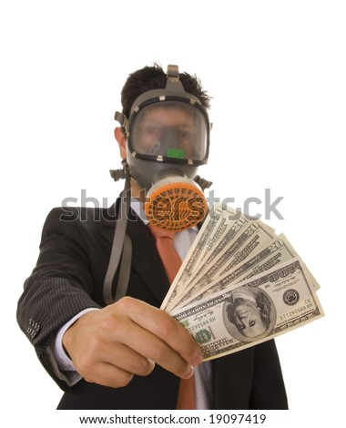 A business man with a gas mask giving banknotes to someone