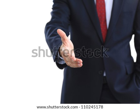 A business man with an open hand ready to seal a deal - stock photo