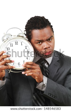 A business man with clock