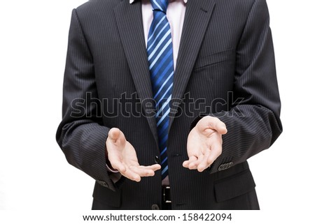 A business person doing an encouraging gesture with their hands