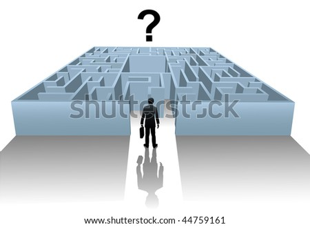 A business person enters an Internet Maze in search of an answer or solution to a question.