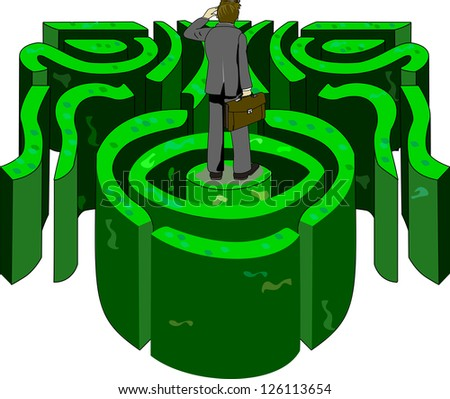 A business professional looks in the distance trying to find his way out of a labyrinth.